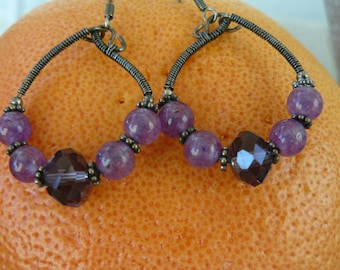 Sterling silver Hoops with gemstones and crystal