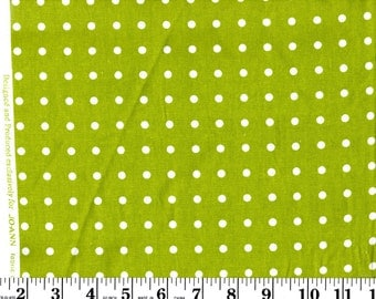 1 yard, White Dots on Lime Green