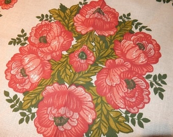 Swedish lovely hand printed doilie 1960 s / flowers