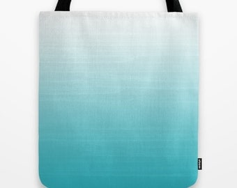 White to Robins Egg Blue Ombre Painted Look Designed Tote Bag  / Book  / Beach / Shopping / Toy / Sports / 2-Sided 13X13 16X16 18X18  Cotton