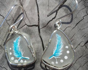 Feather painted seaglass Earring