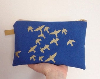 Screen print pouch purse Large // royal blue gold print // flock of birds // hand printed zip zipper purse UK seller