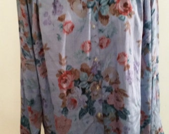 Vintage Blouse 1980's Boho Boxy Over Size Shirt Silky Rayon Floral Top Urban Hipster Poet Style NOS Size L Shoulder Pads