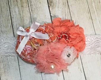 Coral and white lace elastic headband