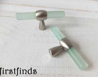 2 Lucite Green Drawer Pulls Furniture Drawer Knobs Kitchen Cabinet Door Hardware Dresser Silver Chrome Cupboard Handles ITEM DETAILS BELOW