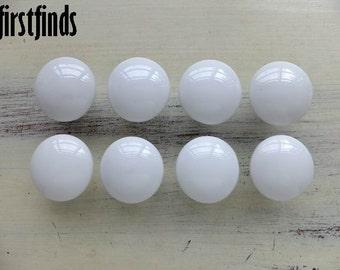8 White Ceramic Knobs Drawer Door Kitchen Hardware Vintage Porcelain Cottage Cabinet Furniture Pulls Cupboard Dresser ITEM DETAILS BELOW