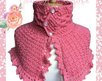 Coral Shoulder Scarf Neckwarmer Irish cables Pearl buttons Caron Simply Soft