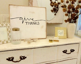 cursive give thanks fall rustic wood sign