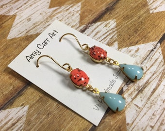 Orange Spotted Tiger Lilly and Light Blue Dangle Earrings