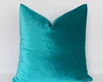 Decorative Velvet Blue Green Pillow Covers, Decorative Velvet Pillows, Throw Pillows,12,14,16,18,20,22,24,26,28,30 inch