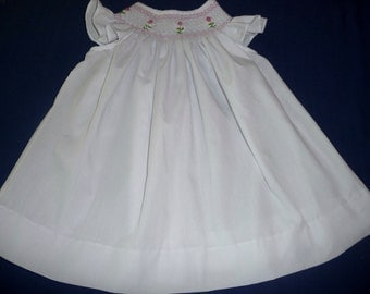 Hand smocked dress with rose buds