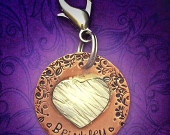 Personalized hand stamped dog ID tag - pet tag - dog name - copper and silver - custom - heart