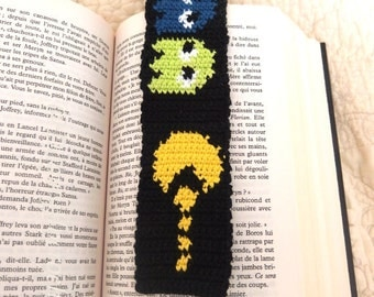 Bookmark Pacman with crocheted cotton thread