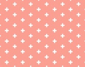 Sienna Positive by Dear Stella Pink and White Fabric Rosy Pink Fabric - Plus Sign Fabric Modern Pink Fabric Baby Nursery Fabric