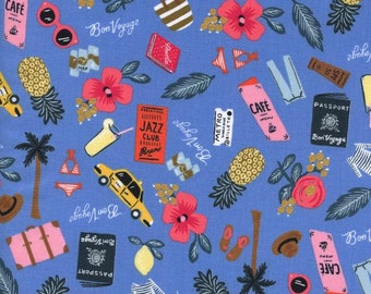 Rifle Paper Co. Bon Voyage in Periwinkle Fabric Modern Les Fleurs Collection Cotton + Steel Collaboration Tropical Fabric Anna Bond