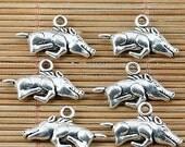 24pcs tibetan silver plated RAZORBACK PIG charm pendants EF1968