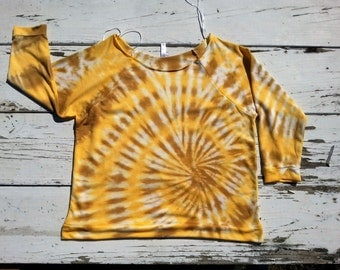 Deep Yellow and Amber Tie Dye Shirt // Long Sleeve Off-Shoulder Tunic // Raw Edge Off Shoulder