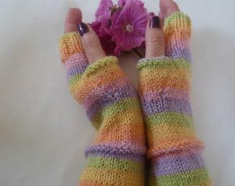 Long Wool Fingerless Gloves - Women Knit Gloves - Fingerless Texting Gauntlets - Wool Arm Warmers Hand Warmers - Clickclackknits