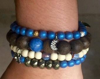 Blue Wooden Bead Stretch Bracelet Set