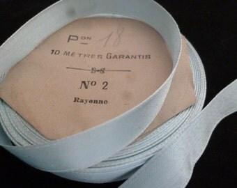 French Vintage Powder Blue Rayon Ribbon trim. Authentic Vintage Ribbon.