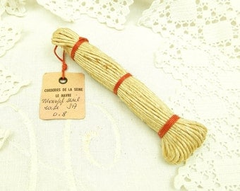 Antique French Unused Bundle of Sisal Twine Rope with Original Label / String / Cord / Haberdashery /  Sewing / Craft Supplies / Le Havre