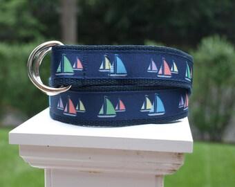 Sailboat Belt / Summer Belt / Sailing Belt / Mens Belt / Preppy Belt