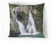 Rustic Waterfall Landscape Decorative Throw Pillow, Woodland, Stream, Green, Gray, Man Cave, Home Decor 14x14 16x16 18x18 or 20x20
