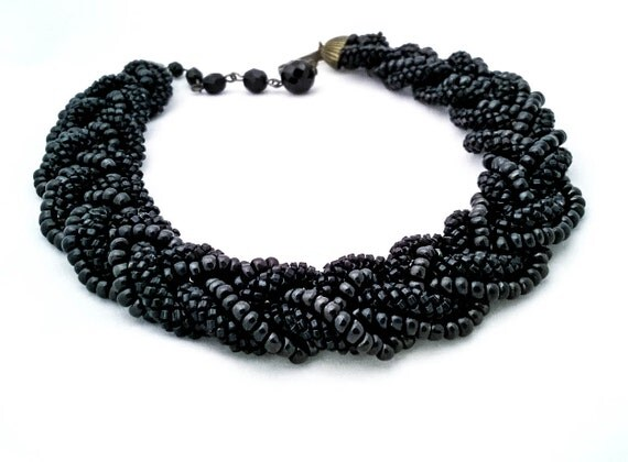 Vintage black glass seed bead hand weaved, hand beaded rope choker statement necklace
