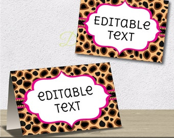 Instant Download - Editable PDF Printable - Cheetah Label / Sticker / Tent Card / Tags - DIY - Hot Pink Lining