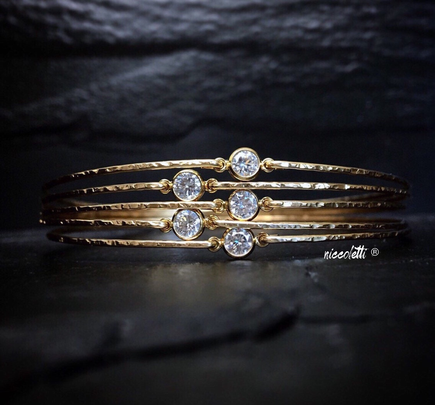 Set of Delicate Diamond Alternative Bangle / Gold Stacking Bangle / Dainty 14k Gold Bangle / Diamond Solitaire Bracelets / April Birthstone