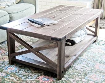 "Ashley : Rustic farmhouse x coffee table, pine wood, handbuilt 52 x 27.5 x 18"""
