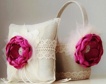 Flower Girl Basket,  Ring Bearer Pillow,  Wedding,  Fuchsia Flower Girl Basket,  Vintage Basket and Pillow Set