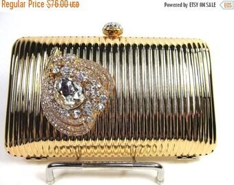 SALE 30% OFF Bridal Clutch, Gold Metal Rhinestone Bridal Clutch, Gold Wedding Purse, Gold Crystal Minaudiere