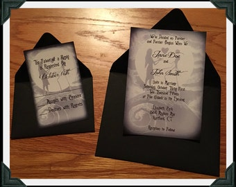 nightmare before christmas inspired black and white printed wedding invitation and rsvp cards envelopes included - Nightmare Before Christmas Wedding Invitations