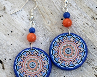 Beaded Dangles, Drop Earrings, Bohemia Jewelry, Cobalt Blue, Orange Dangles, Sterling Silver, Casual Unique, Gemstone Jewelry, Colorful Boho