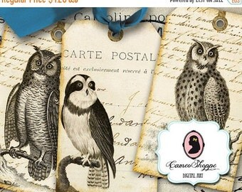 75% OFF SALE ROYAL Owls Digital Collage Sheet Digital Hang Tags Ephemera Digital Download