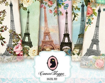75% OFF SALE BOOKMARK Digital collage sheet Glamour Paris digital collage download shabby chic scrapbooking instant download