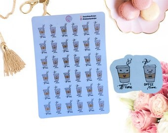 Planner Stickers, Hand Drawn, Coffee, ECP, Functional Stickers