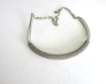 Silver Tone Choker Necklace Chico Beaded Accent