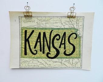 Kansas Vintage State Map