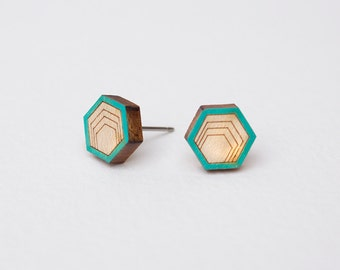 Wood Stud Earrings, Hexagon Stud Earrings, Wooden Stud Earrings, Simple Stud Earrings, wood post earrings, natural wood studs, modern studs