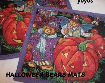 HALLOWEEN , BEARS, Mini Mats, Set of Two, Holiday Decor,  Home Decor,  Kitchen Décor,  Gifts for Children, Snack Mats