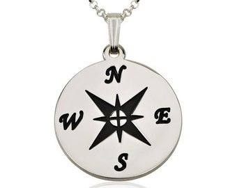 Silver Sterling Compass Necklace with chain