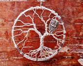 Tree of Life with Owl Pendant, Bare Branch Tree of Life, Wire Wrapped Tree of Life, Leafless Tree of Life