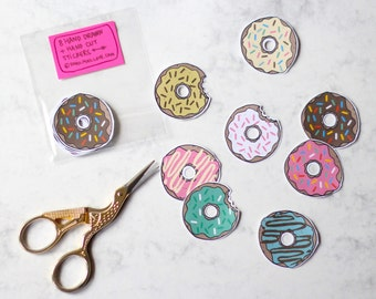 Hand Drawn + Hand Cut Donuts Stickers - Set of 8 (Illustrated - Quirky - Planner Decoration - Envelope Seals - Labels)