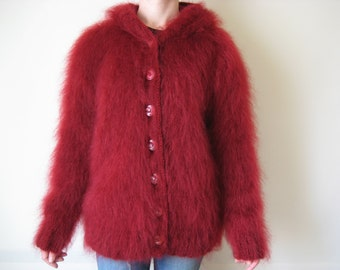 Made to Order new hand knitted Red mohair cardigan sweater size S, M, L, XL