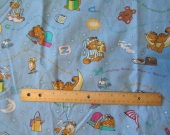 36 x 36 Inch Blue Garfield Sleep Cotton Fabric Remnant