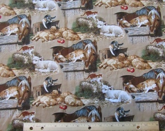 Brown Barnyard Baby Animals/Horse/Goat/Puppy/Kitten Cotton Fabric by the Yard