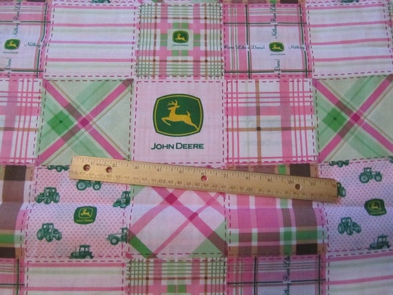 Girly John Deere Paintings : Dark pink madrais girly john deere cotton fabric by the