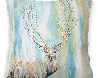 Watercolor stag - stag cushion, stag pillow, deer pillow animal print cushion/throw pillow for sofa/home/bedroom 18'' (45cm) - Deer cushion